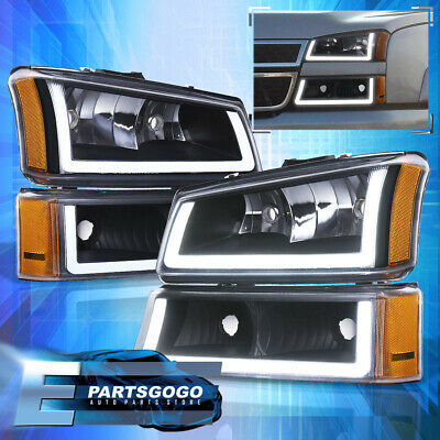 $191.99 • Buy For 03-07 Chevy Silverado LED DRL Black Housing Amber Headlights + Bumper Lamps