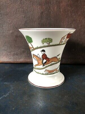 COALPORT - HUNTING SCENE - Fine Bone China Small Post Vase • 9.40£