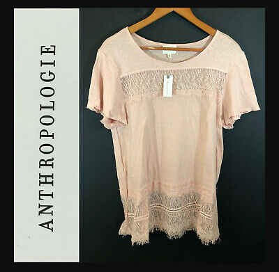$ CDN33.14 • Buy NWT Deletta Anthropologie Women's Short Sleeve Pullover | Color: Rose | Size: L