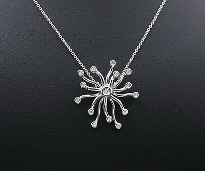 $744.58 • Buy 18k White Gold Abstract Starburst Diamond Pendant Necklace 17  NG718