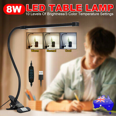 AU23.95 • Buy Clip On Desk Lamp Table Light Bedside Night Reading Led Eye Care USB Dimmable AU