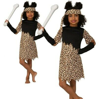 Girls Cave Girl Costume Childs Stone Age Caveman Book Day Girls Fancy Dress • 9.99£
