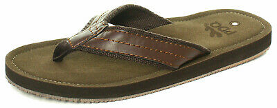 PDQ Mens Leather Look Toe Post Flip Flops Beach Summer Shoes Sandals Brown 6-12 • 10.79£
