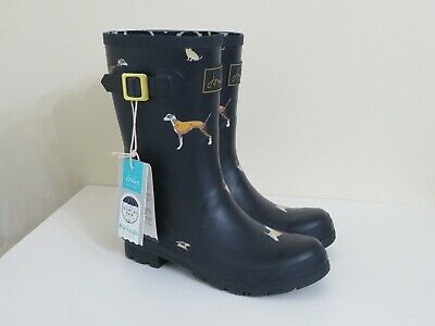 Joules Mid Rain Boots Molly Welly Navy Harbor Dog New 8 • 55.99$