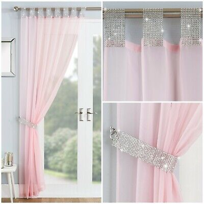 Sparkle Bling Diamante Lace Glamour Blush Pink Tab Top Curtain Voile Net Panel  • 5.95£