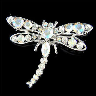 £31.55 • Buy DRAGONFLY~ Made With Swarovski Crystal Bridal Wedding Bouquet Insect Pin Brooch