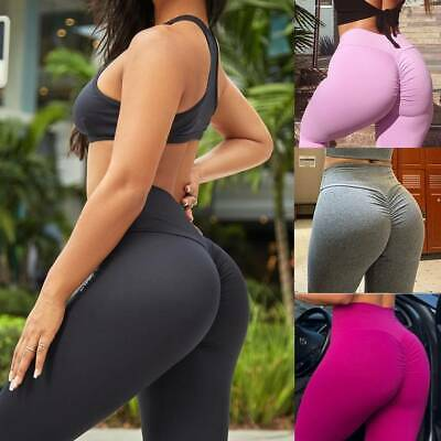 AU12.99 • Buy Women's High Waist Yoga Pants Leggings Push Up Ruched Compression Fitness Gym A8