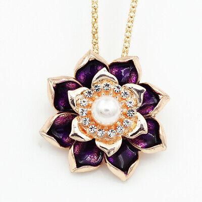 $ CDN6.57 • Buy Betsey Johnson Purple Enamel Crystal Lotus Flower Pendant Necklace/Brooch Pin