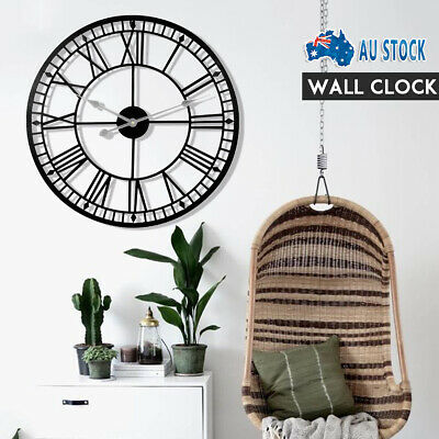 AU35.59 • Buy 60/80cm Roman New Numerals Garden Wall Clock Giant Open Face Metal Large Outdoor
