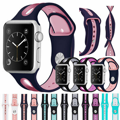 $ CDN6.39 • Buy For Apple Watch Series 5 4 3 2 1 38/42/40/44mm Silicone Sports Band IWatch Strap