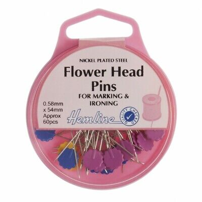 Hemline Flat Head Flower Pins • 4.49£