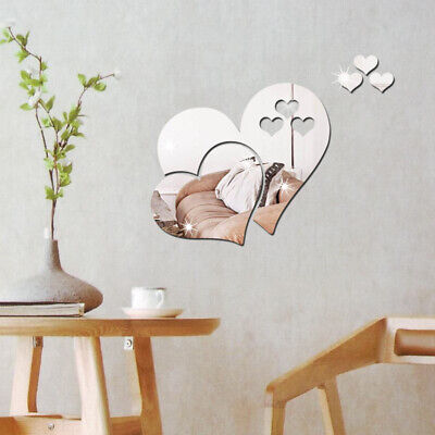 3 Love Heart Mirror Tiles Kitchen Wall Sticker Stick On Decal Home Bedroom Decor • 3.49£