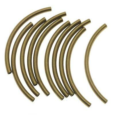 $8.09 • Buy Antiqued Gold Plated Curved Noodle Tube Beads 3mm X 50mm (10)
