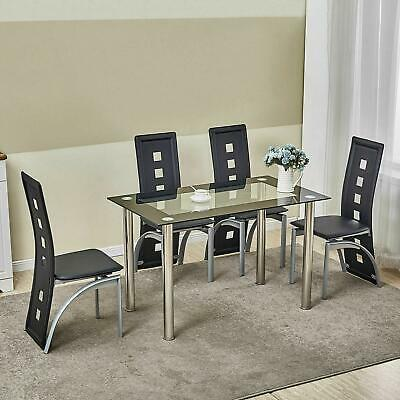 $249.99 • Buy 5 Piece Dining Table Set Kitchen Room Furniture W/ 4 Chairs Black