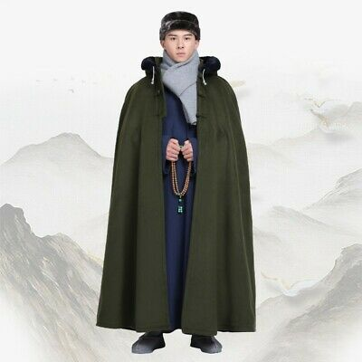 $127.13 • Buy Men's Chinese Style Jacket Hooded Robe Outwear Cosplay Mantle Cloak Cape Thick