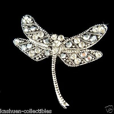 £31.55 • Buy Black Dragonfly Made With Swarovski Crystal Antique Style Pin Brooch Jewelry NEW