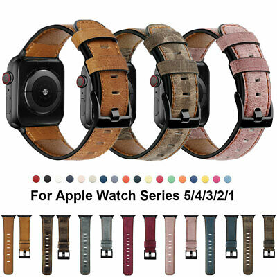 $ CDN10.61 • Buy Genuine Leather Watch Bands Strap Apple Watch 5 4 3 2 IWatch 40/44/38/42mm Band