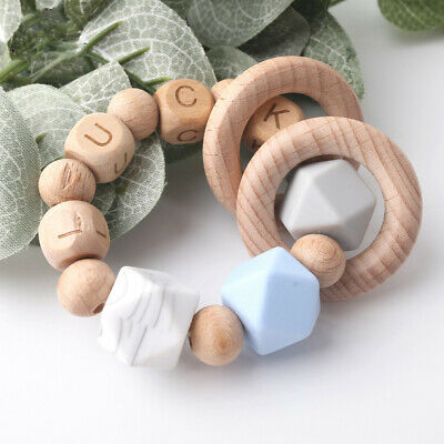 £4.64 • Buy Hexagon Silicone Beads Wooden Teething Ring Personalized Baby Name Bracelet Toys