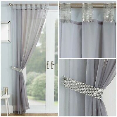 Sparkle Bling Diamante Lace Glamour Silver Grey Tab Top Curtain Voile Net Panel  • 5.95£