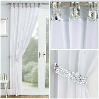 Sparkle Bling Diamante Lace Glamour White Tab Top Curtain Voile Net Panel  • 11.95£