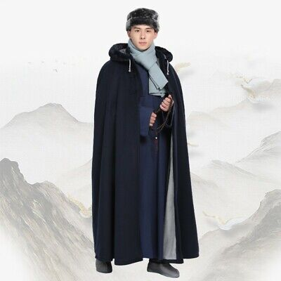 $134.93 • Buy Men's Chinese Style Jacket Hooded Robe Outwear Cosplay Mantle Cloak Cape Thick