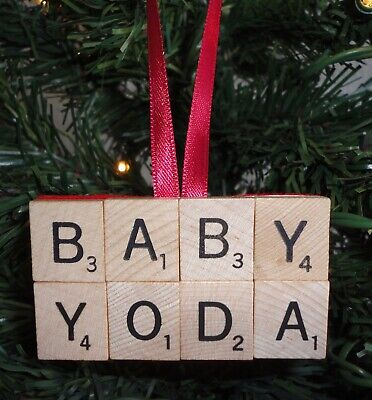 $7.99 • Buy Star Wars Mandalorian BABY YODA Wood Scrabble Letter Tile Christmas Ornament