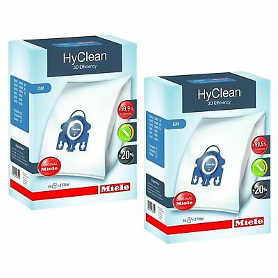 8 X Genuine MIELE GN HyClean 3D Vacuum Cleaner Hoover DUST BAGS & 4 X Filters • 20.09£