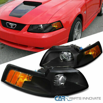 $130.63 • Buy 99-04 Ford Mustang Black Retrofit Style Projector Headlights Head Lamps Pair