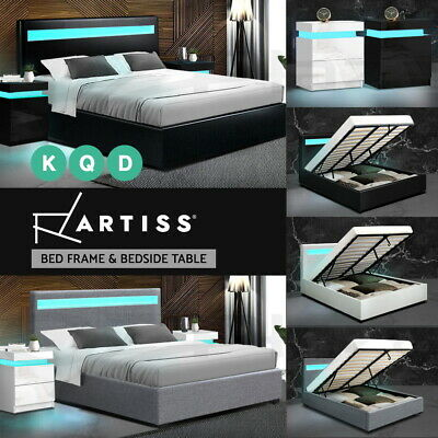 AU108.90 • Buy Artiss Bed Frame RGB LED Bedside Tables Double Queen Size Gas Lift Base Storage