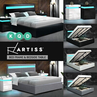 AU315.20 • Buy Artiss LED Bed Frame Bedside Tables Double Queen Size Gas Lift Bed Base Storage