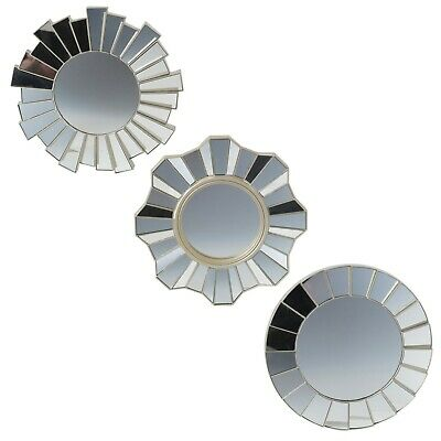 3 PCS Wall Mountable Hanging Round Mirror Sets Bedroom Hallway Decor 3 Designs  • 13.99£