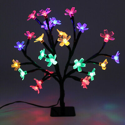 25cm Christmas Tree Table Top  Multi LED Blossom Tree Bendable Branches • 8.99£
