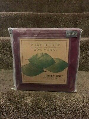 Pure Beech Jersey Knit 100% Modal Cal King Sheet Set In Burgundy • 57.50$