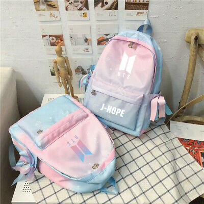 $23.56 • Buy BTS Bangtan Boys Gradient Pink Blue Backpack Student Bookbag School Shoulder Bag