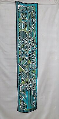 $17.09 • Buy Bob Mackie Floral Print Oblong Silk Scarf -- Turquoise Multi