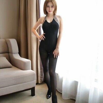 $7.21 • Buy Lingerie Nightwear Women Open Crotch Fishnet Body Stocking Bodysuit Black Suit .