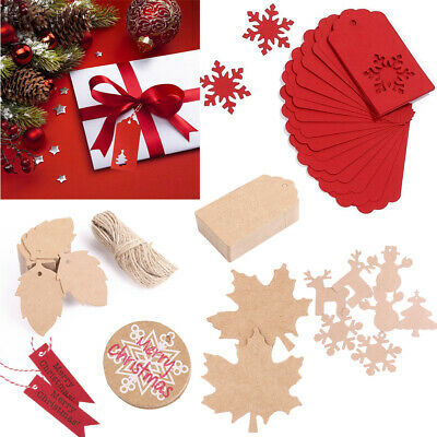 Christmas Kraft Paper Gift Tags Price Wedding Wish Scallop Label Blank Luggage • 1.49£