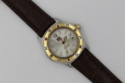 Tag Heuer WK1120 Watch Mens 2000 Brown Leather GOLD SILVER Professional WK1121 • 365$