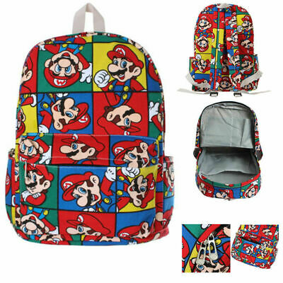 Super Mario Anime Bag Backpack Student Boy Girl Kid Schoolbag Rucksack 16  Large • 13.99£