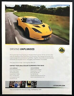 $ CDN9.48 • Buy 2012 Yellow Lotus Evora S Coupe Photo  Driving Unplugged  Promo Print Ad