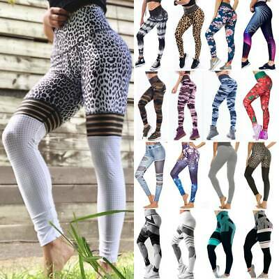 AU27.99 • Buy Women's High Waist Yoga Leggings Pants Printed Sports Fitness Workout Trousers A
