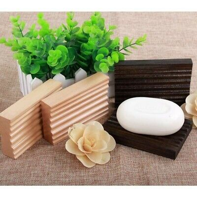 Soap Dish Rack Holder Plate Eco Wood Light Tray Bath Essential Uk • 3.75£