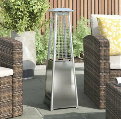 Garden Table Top Patio Heater Stainless Steel Pyramid Outdoor Gas Powered 2KW • 79.99£