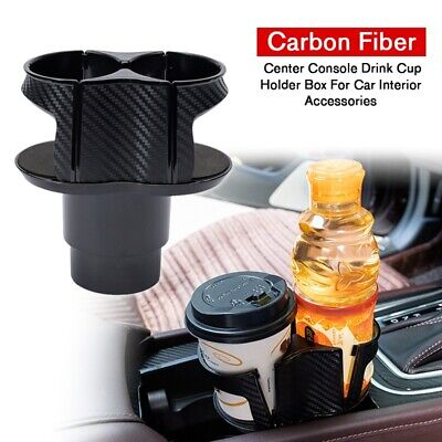 For Car Interior Parts Carbon Fiber Center Console Drink Cup Holder Box Useful • 12.34$
