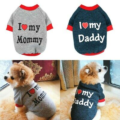 Jumper Small For Yorkie Love Clothes Sweater Dog Pug Cat Mummy/Daddy Puppy I Pet • 2.90£