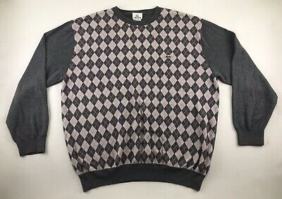 LACOSTE Womens Gray & Pink Argyle Long Sleeve Crewneck Sweater Size 7 100%Cotton • 28.94£