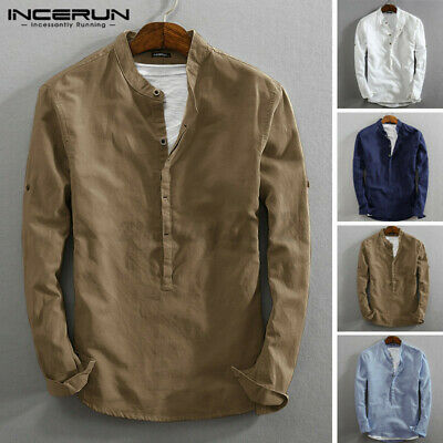 INCERUN Men's Henley T-shirt Long Sleeve Casual Grandad Smart Shirts Blouse Tops • 8.99£