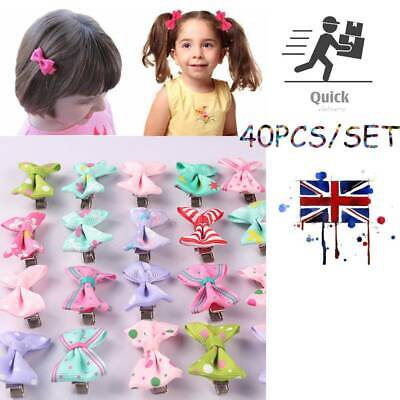 40pcs Baby Hair Clips Girls Kids Flowers Hair Clip Bow Hairpin Alligator Clips • 4.99£