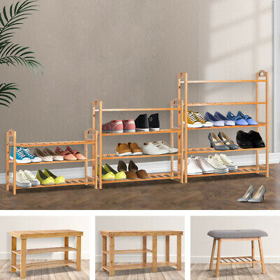 AU40.95 • Buy Artiss Shoe Rack Bamboo Cabinet Bench Wooden Organiser Storage Stand Shelves