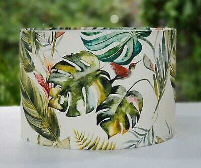 £25 • Buy TROPICAL Botanical Jungle Palm Leaf Humming Bird Floral Green Drum Lampshade